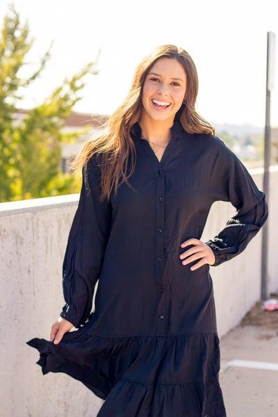 Ruby Black Button Dress
