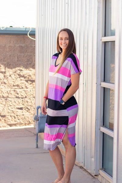 Brenda Striped Midi Dress