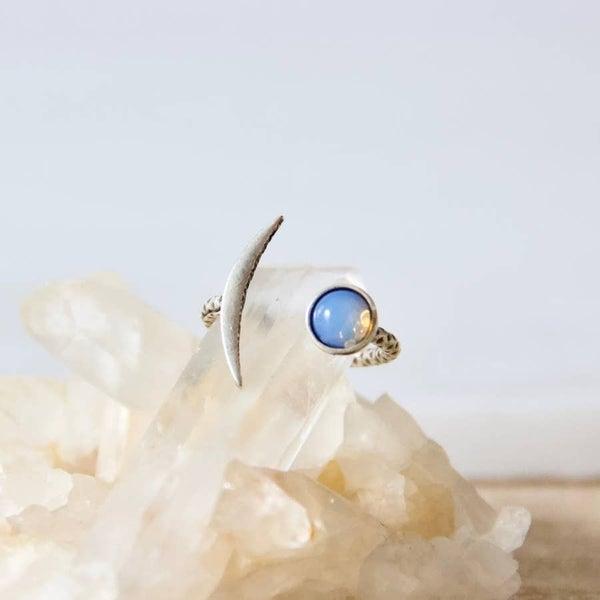 Opalite Sliver Crescent Ring