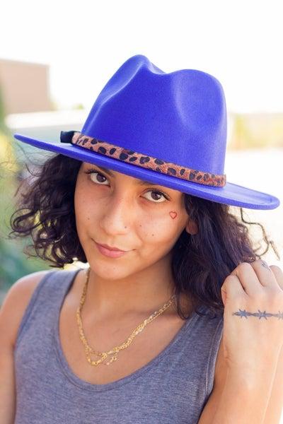 Fedora with Leopard Belt Hat