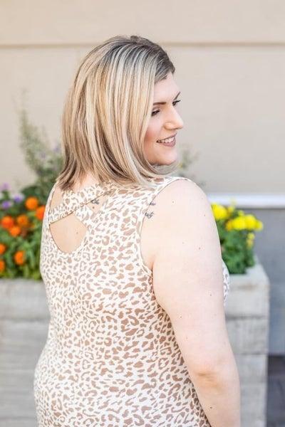 Michelle Mae- Cheetah Back Criss Cross Tank