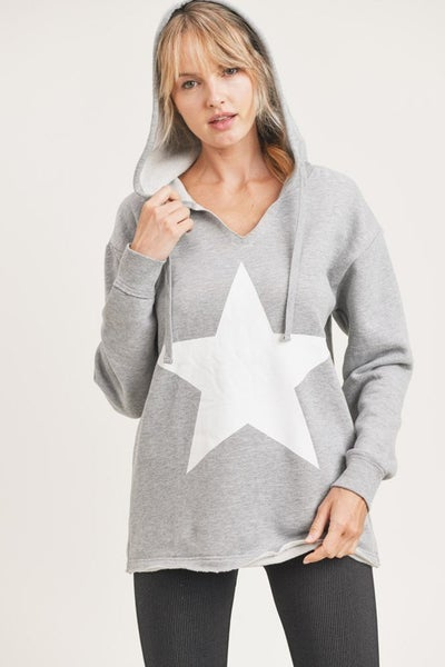 Star French Terry Hoodie V-Neck Pullover