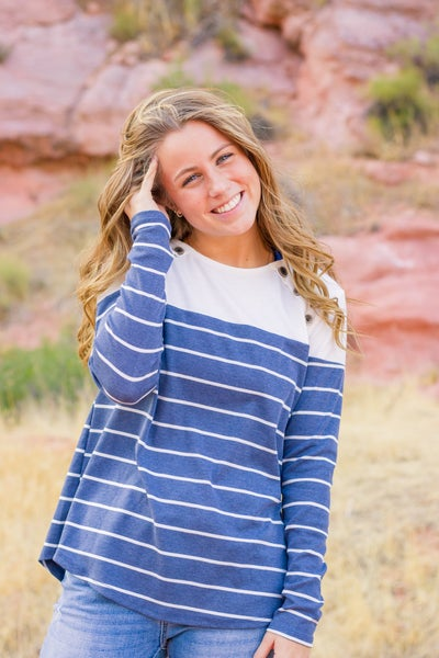 Button Striped Sweater Top