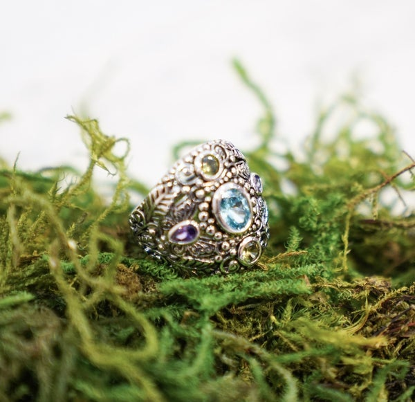 Sterling Silver Nature Multi Color Ring