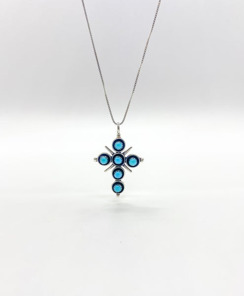 Sterling Silver 6 Turquoise Stone Necklace