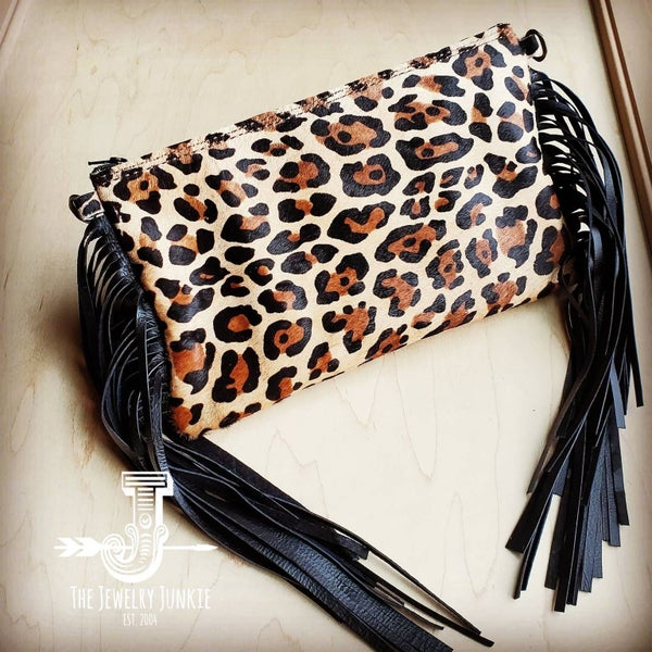 Genuine Leather Hair and Hide Leopard Print Crossbody