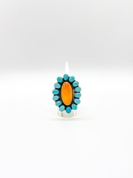 Turquoise and Orange Spiny  Cluster RIng