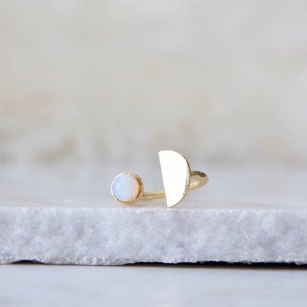 Opalite Half Moon Ring