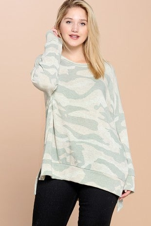 Curvy Fit Camo Long Sleeve Top