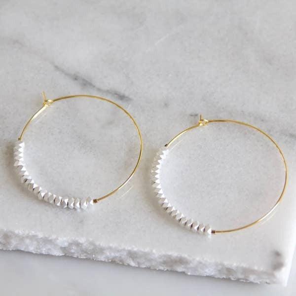 Minimal Silver Bead Hoop Earrings