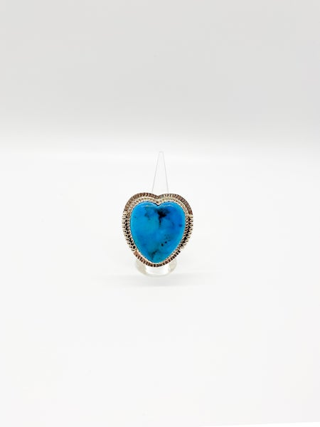 Heart Stone Turquoise Sterling Silver Ring
