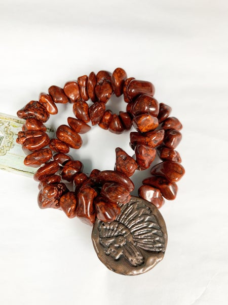 Double Strand Tobacco Red Turquoise, Indian Coin
