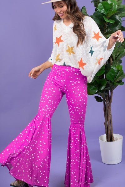 Star all over flare pants