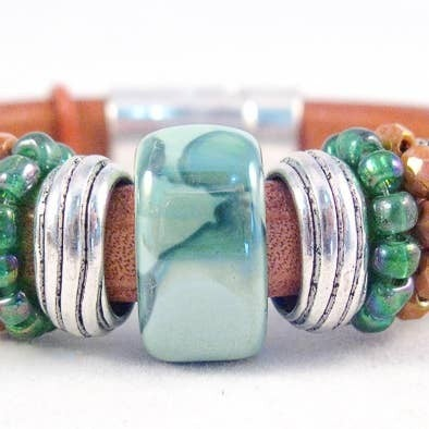 Turquoise Green And Golden Brown Bracelet