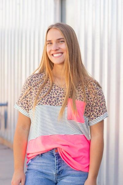 Cheetah Color Block Top