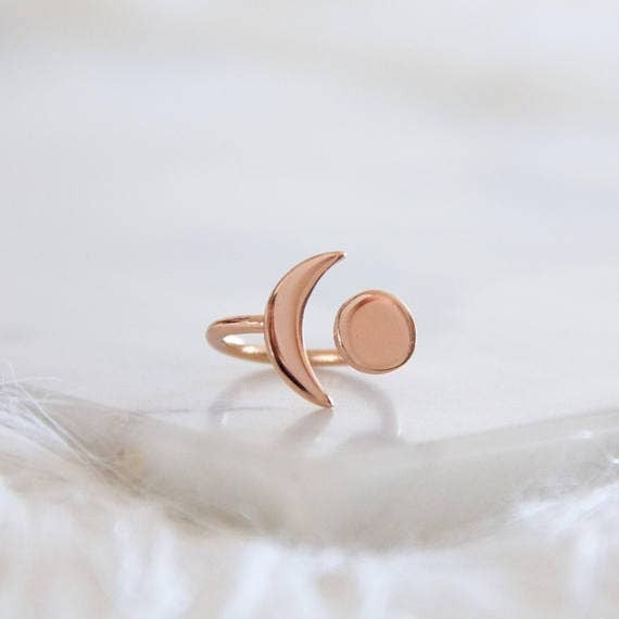 Rose Gold Moon, Crescent Ring