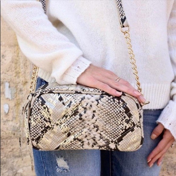 Laci Quilted Crossbody Snake Gold Fleck