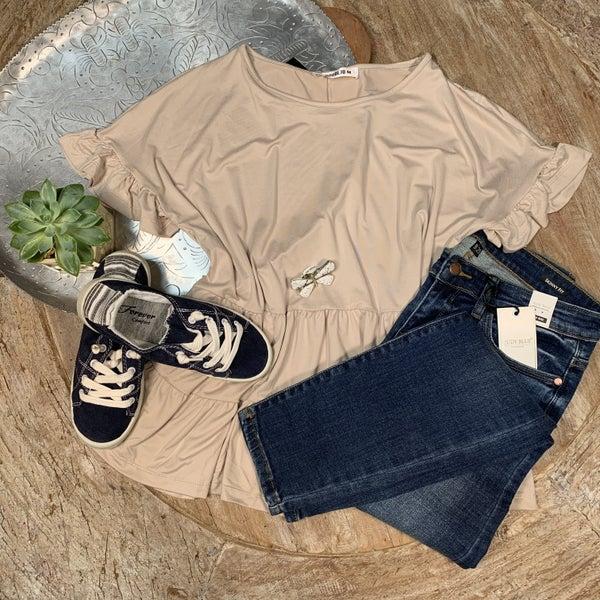 Paris Taupe ruffle sleeve and bottom shirt