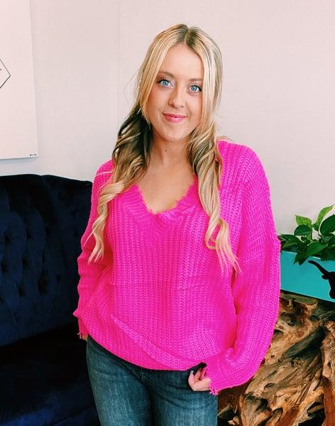 Hot Pink Frayed V Neck Sweater