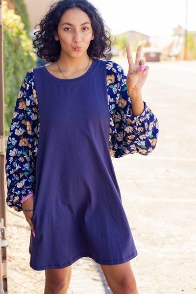 Floral Print Dolman Sleeve Side Pocket Dress