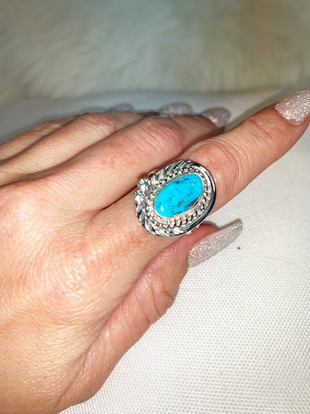 Genuine Turquoise And Sterling Silver Ring