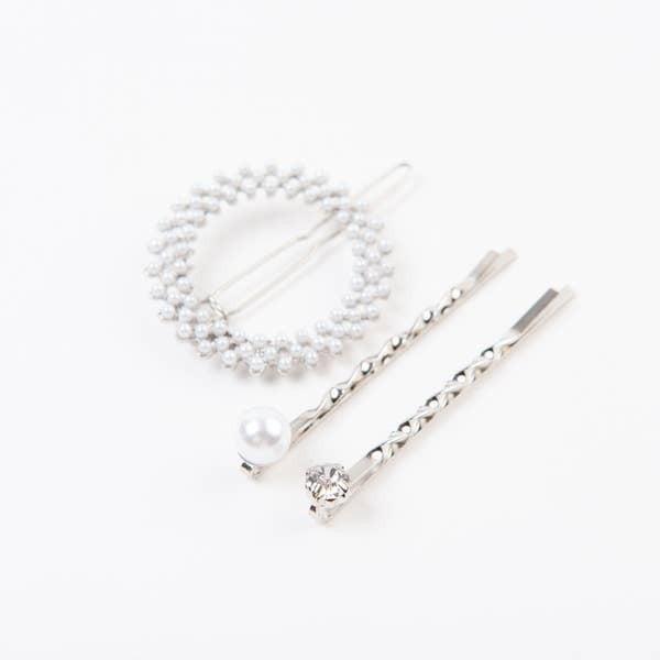 Lucca Silver Mini Pearl Halo 3 Pc. Hair Clip Set