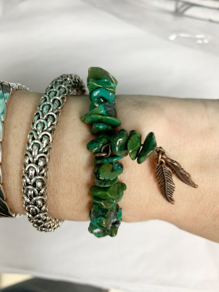 Natural Turquoise Bracelet W/Copper Feathers