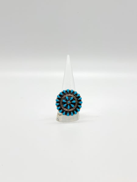 Turquoise Sterling Silver Blossom Ring