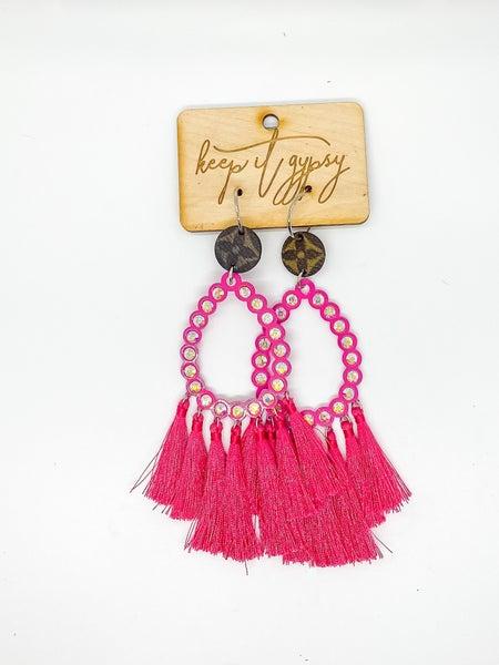 LV  Upcycled Bling Fringe Hoop Earrings