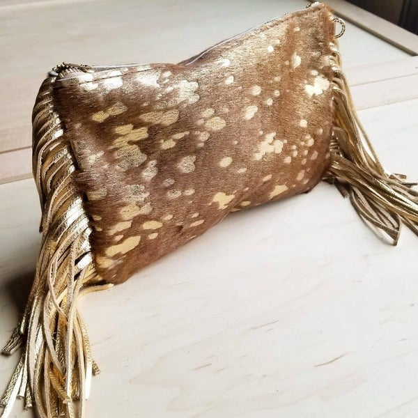 Tan and Gold Leather Clutch Handbag