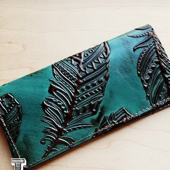 Embossed Leather Wallet-Jade Feather