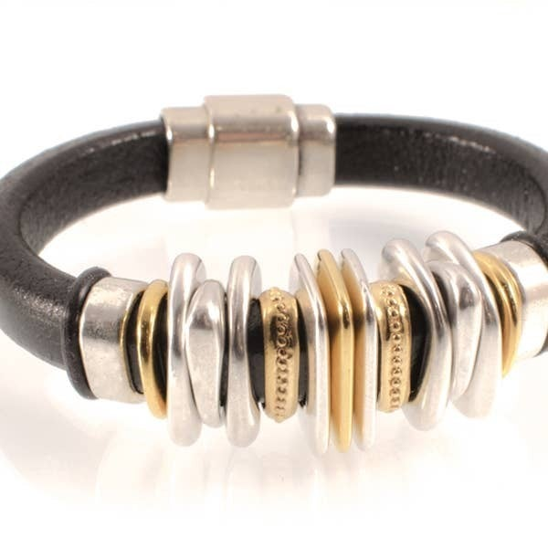 Leather And Mixed Metal Bracelet