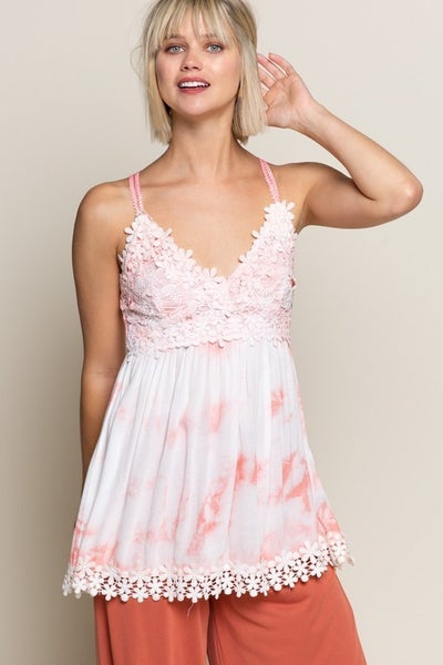 POL Splashed water color-inspired babydoll top