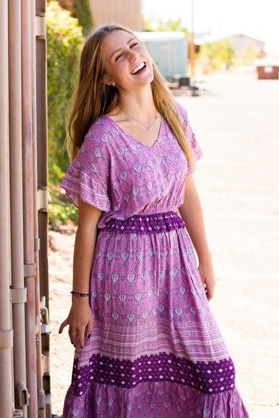 Border Print Ruffled Midi Dress