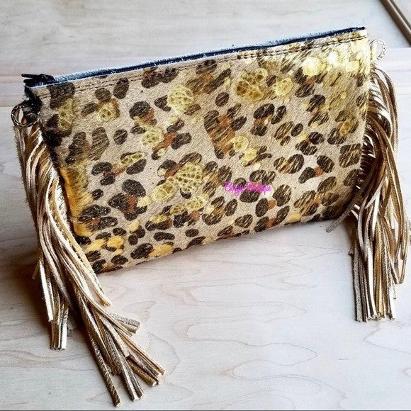Handmade Gold Leopard Hair on Hide Leather Clutch