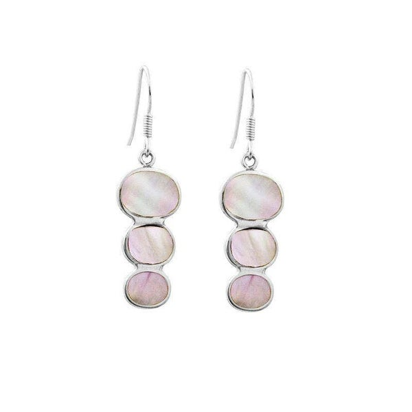 Sterling Silver Tripple Drop Earring With Mother Of Pearl
