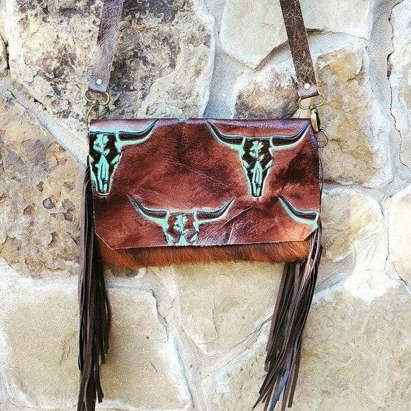 Hair with Turquoise Steer Head Flap Handbag