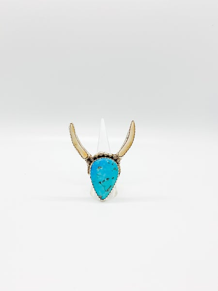 Sterling Silver Genuine Turquoise Longhorn Ring