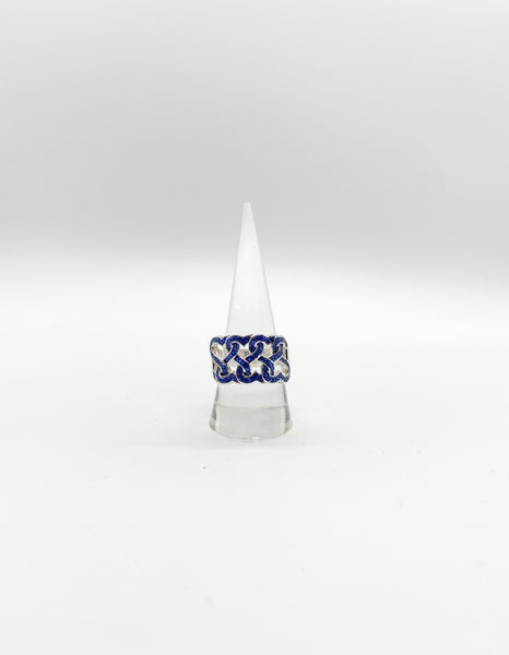 Sterling Silver  Wavy Blue Spinel Ring