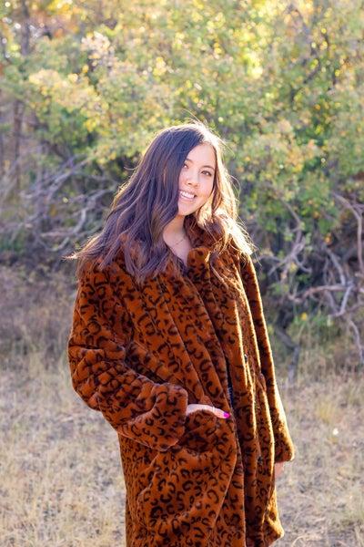 Faux Fur Leopard Print Jacket