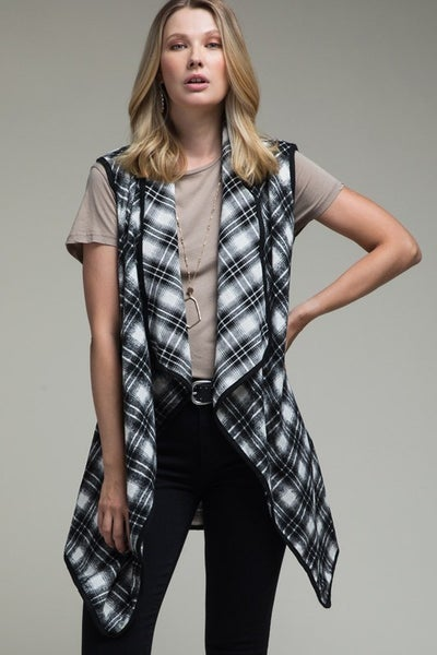 Buffalo Plaid Vest with Pockets