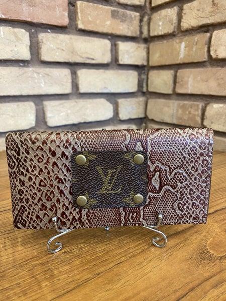 Handmade Genuine Leather Upcycled LV Checkbook Cover