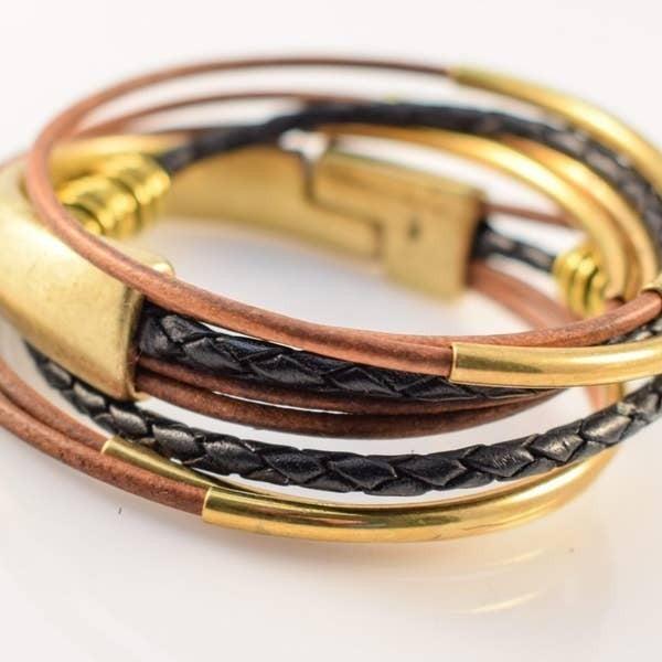 Golden Leather Wrap Bracelet