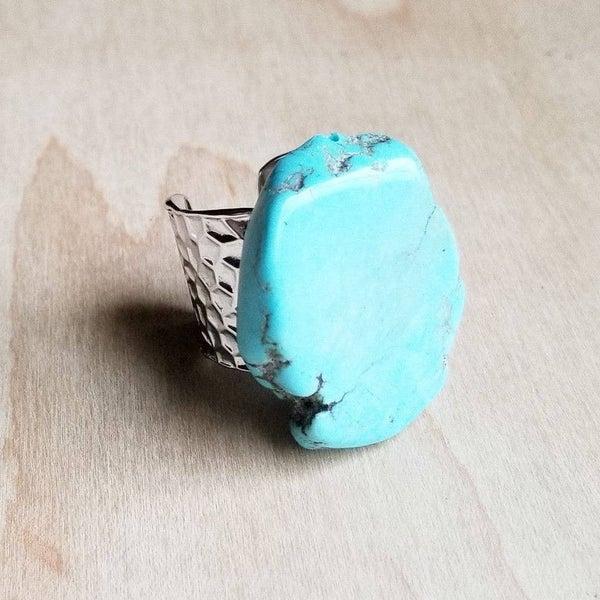 Blue Turquoise Slab Ring