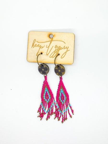Upcycled LV Beaded Earrings
