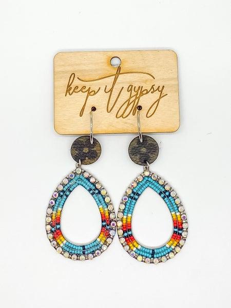 Upcycled LV Beaded BoHo Earrings