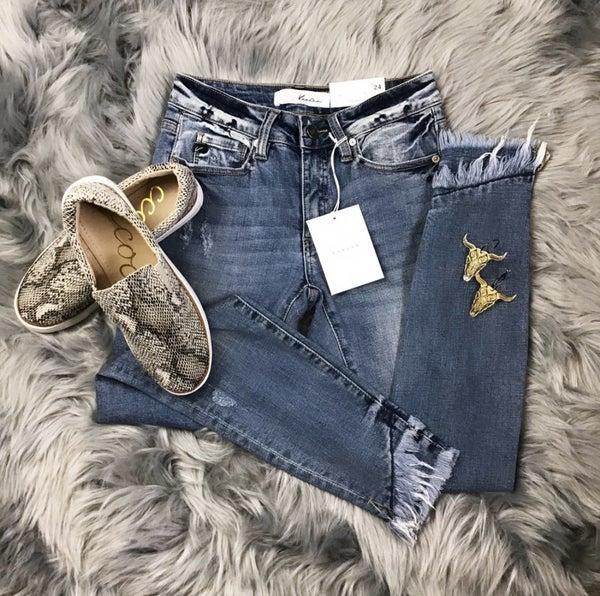 Kan Can Chloe Layered Hem Skinny Jean