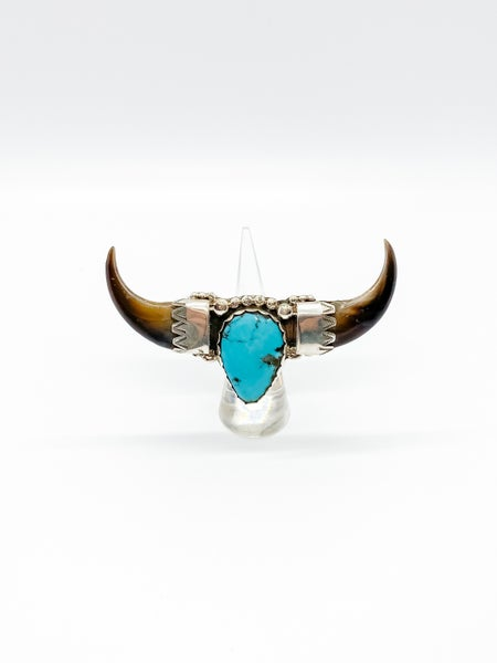 Turquoise Texas Longhorn Bull up Ring
