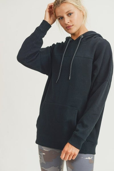 Longline Hoodie Pullover with Yoke Accent