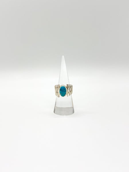Fenced Turquoise Wide Ring